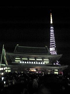 カウントダウン後の増上寺と東京タワー